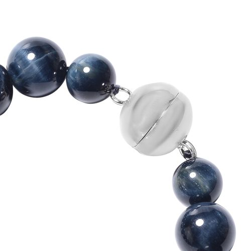 Blue Tiger Eye (Rnd) Beads Necklace (Size 20) in Rhodium Overlay Sterling Silver with Magnetic Lock 680.00 Ct.