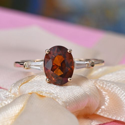 Extremely Rare Size - 9K Yellow Gold Red Zircon (Ovl 8x6mm), Natural Cambodian Zircon Ring 2.25 Ct - Size M