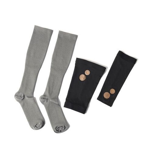 Set of 3 - Copper Fit Socks (Size L/XL), Copper Knee Sleeve (Size XL), Copper Elbow Sleeve (Size XL)
