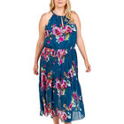 NOVA Of London Pleated Midi Dress With Floral Print in Green (Size 22 )