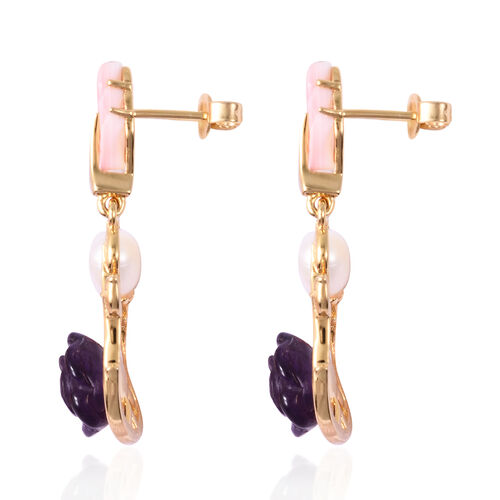 Jardin Collection - Amethyst (7.50 Ct), Freshwater Pearl and Pink Mother of Pearl Floral Earrings (with Push Back) in Yellow Gold Overlay Sterling Silver