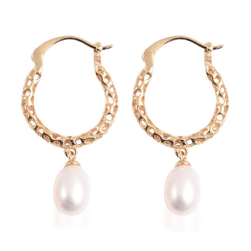 RACHEL GALLEY Lattice Collection - Freshwater White Pearl Drop Hoop Earrings (with Clasp) in Yellow Gold Overlay Sterling Silver