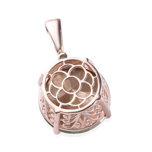 J Francis - Crystal from Swarovski White Crystal (Rnd 25mm) Solitaire Pendant in 18K Rose Gold Plated