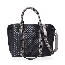 100% Genuine Leather Quilted Pattern Tote Bag with Detachable Shoulder Strap (Size 29x11x24 Cm) - Bl