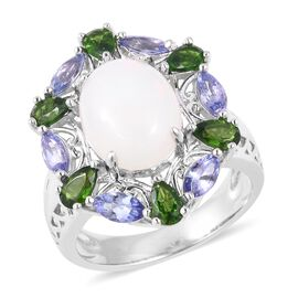 5.83 Ct Ethiopian Opal and Multi Gemstones Halo Ring in Sterling Silver 7.2 Gms