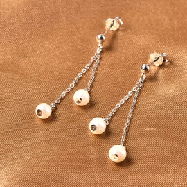 Japanese Akoya Pearl Dangle Earrings (with Push Back) in Rhodium Overlay Sterling Silver