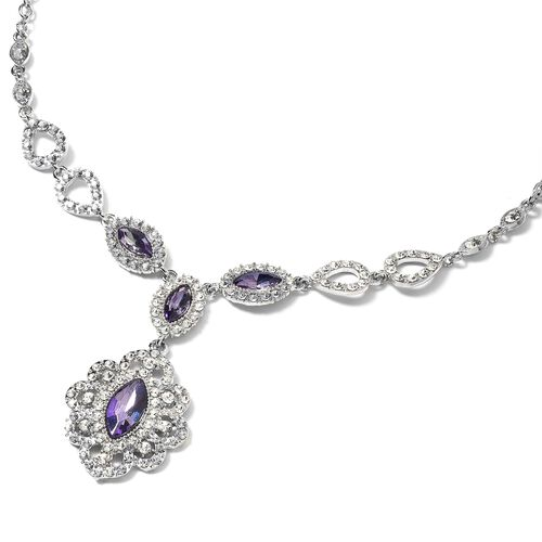 Simulated Amethyst (Mrq 18x9 mm), White Austrian Crystal Necklace (Size 22 with 2.5 inch Extender) in Silver Plated