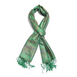 SILK MARK - 100% Superfine Silk Green, Purple and Multi Colour Flower and Paisley Pattern Jacquard J