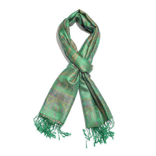 SILK MARK - 100% Superfine Silk Green, Purple and Multi Colour Flower and Paisley Pattern Jacquard Jamawar Scarf with Tassels (Size 180x70 Cm) (Weight 125 - 140 Gms)
