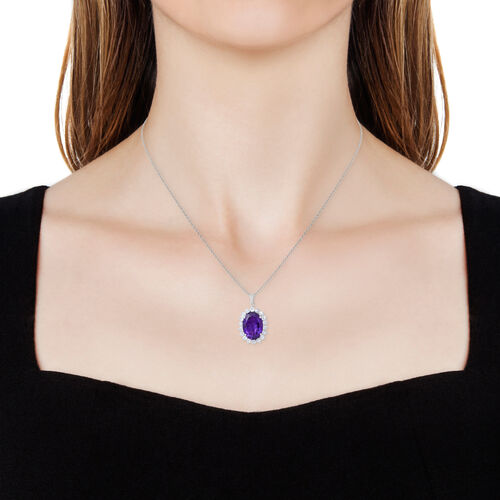 Rare Size Amethyst (Ovl 18x13mm), Natural White Cambodian Zircon Pendant with Chain in Rhodium Plated Sterling Silver 13.500 Ct.