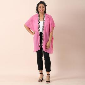 OTO - JOVIE Chiffon Kimono with Leopard Printed Border (Size 80x85cm) - Pink