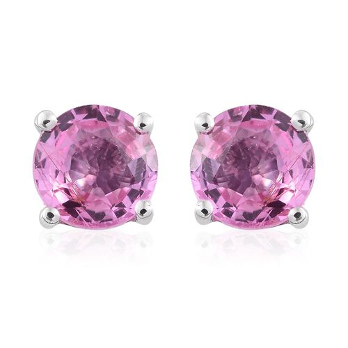 ILIANA 18K White Gold 1.05 Carat AAA Pink Sapphire Solitaire Stud Earrings (with Screw Back)