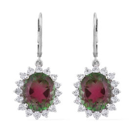 Bi Colour Tourmaline Triplet Quartz (Ovl 10.60 Ct), Natural Cambodian Zircon Earrings in Platinum Ov
