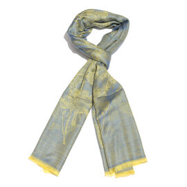 100% Modal Scarf-Blue and Golden Colour Flower and Leaves Pattern Jacquard Scarf (Size 190x70 Cm)