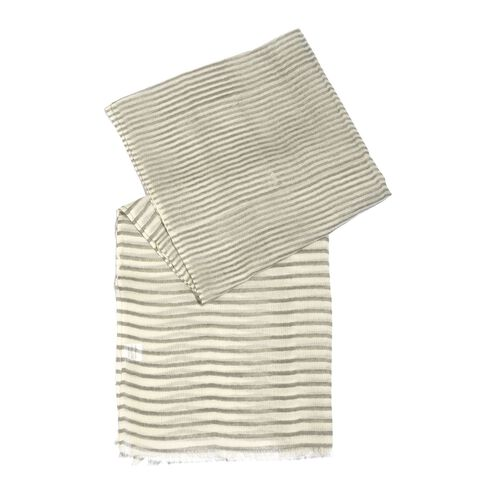 100% Merino Wool Grey and White Colour Stripes Printed Scarf with Fringes (Size 180X70 Cm)