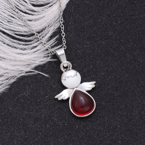 Red Garnet Pendant with Chain Pure White Stainless Steel  3.500  Ct.