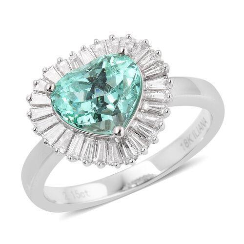 ILIANA 18K White Gold Boyaca AAA Boyaca Colombian Emerald (Heart 2.15 Ct), Diamond (SI G-H) Heart Ring 2.680 Ct, Gold wt 5.00 Gms