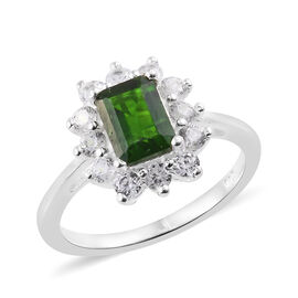 Russian Diopside (Oct), Natural Cambodian Zircon Ring in Sterling Silver 1.75 Ct.