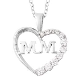J Francis - Rhodium Overlay Sterling Silver (Rnd) Mum Heart Pendant with Chain Made with SWAROVSKI Z