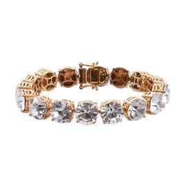 J Francis - Crystal from Swarovski White Crystal (Rnd 11.5 mm) Tennis Bracelet (Size 7.5) in Gold Plated