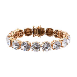 J Francis White Colour Crystal from Swarovski Tennis Style Bracelet in Gold Tone Size 7.5 Inch
