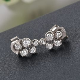 Moissanite Stud Earrings (with Push Back) in Platinum Overlay Sterling Silver