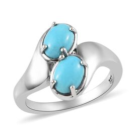 Arizona Sleeping Beauty Turquoise (Ovl) Bypass Ring in Platinum Overlay Sterling Silver 1.50 Ct.