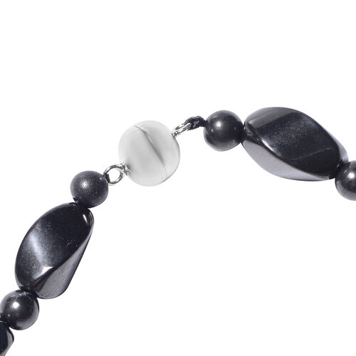 Shungite Beads Necklace (Size 20) in Rhodium Overlay Sterling Silver with Magnetic Lock 229.00 Ct.