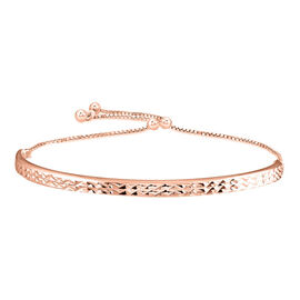 JCK Vegas Collection- Rose Gold Overlay Sterling Silver Diamond Cut Bracelet (Size 6.5-8 Adjustable)