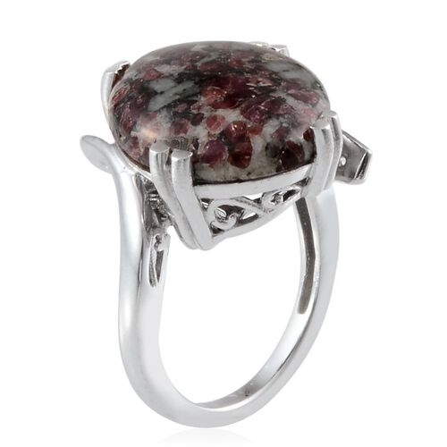 Natural Russian Eudialyte (Ovl) Solitaire Ring in Platinum Overlay Sterling Silver 10.000 Ct.