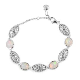 RACHEL GALLEY Ethiopian Welo Opal (Ovl 9x7 mm) Pebble Lattice Bracelet (Size 8) in Rhodium Plated Sterling Silver 4.650 Ct. Silver wt 12.90 Gms.