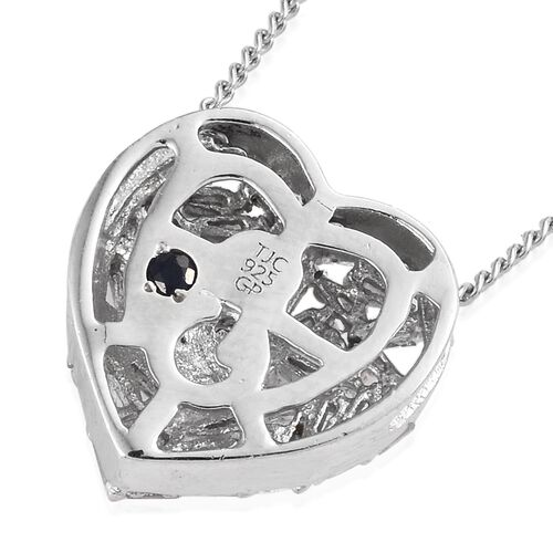 GP Diamond (Bgt), Kanchanaburi Blue Sapphire Heart Pendant With Chain (Size 20) in Platinum Overlay Sterling Silver 0.330 Ct.