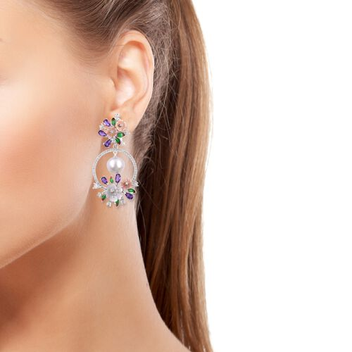 JARDIN COLLECTION - White South Sea Pearl (11mm) and Multi Gemstones Earrings (with French Clip) Rhodium with Enameled Overlay Sterling Silver, Silver wt. 11.00 Gms