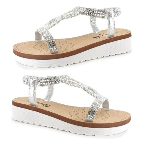 OLLY Belle Toe Post Low Wedge Sandal (Size 6) - Silver