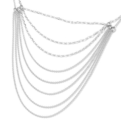 Lucy Q Rhodium Overlay Sterling Silver Multi Strand Necklace (Size 18 and 5 inch Extender)