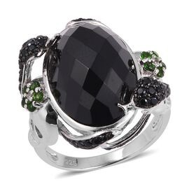 17.62 Ct Black Spinel and Diopside with Multi Gemstones Ring in Sterling Silver 6.06 Grams