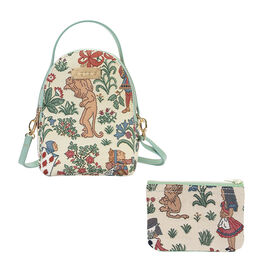 Signare Tapestry - 2 Piece Set - Alice in Wonderland Bagpack (17X6X22cm) and Cosmetic Bag (11X1.5X8c