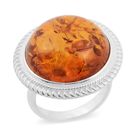 Baltic Amber (Rnd) Ring in Sterling Silver, Silver wt 7.00 Gms