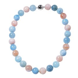 Extremely Rare Size-Multi Aquamarine (Rnd 15-17 mm) Necklace (Size 20) with Magnetic Lock in Rhodium Overlay Sterling Silver 800 Ct.