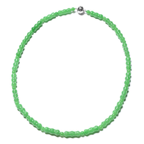 Green Jade Beaded Necklace in Rhodium Plated Sterling Silver