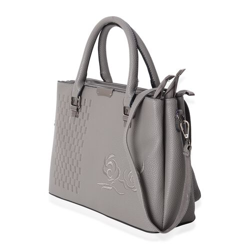 Embroidery Rose Grey Tote Bag with Removable Shoulder Strap (Size 32x23.5x12 Cm)