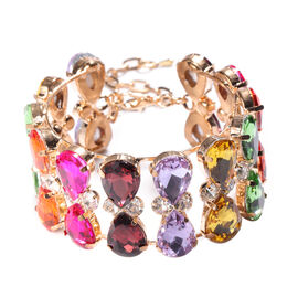 Multi Colour Simulated Gemstone and White Austrian Crystal Bangle (Size 6.5 with Extender) in Yellow