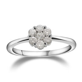 9K White Gold SGL Certified Diamond (Rnd) (I3 /G-H) Ring 0.500 Ct.