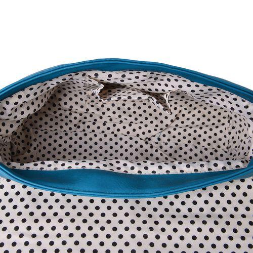 Turquoise and Grey Colour Envelope Design Crossbody Bag with Adjustable Shoulder Strap (Size 27X17.5X8 Cm)