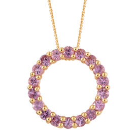 Pink Sapphire (Rnd) Circle Pendant with Chain (Size 20) in 14K Gold Overlay Sterling Silver 2.250 Ct