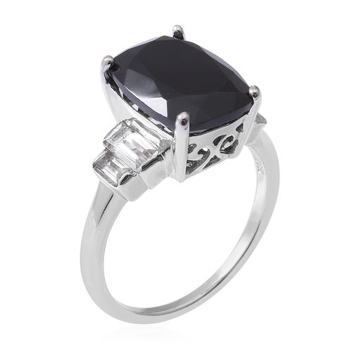 Boi Ploi Black Spinel (Cush 14x10 mm), White Topaz Ring in Rhodium Overlay Sterling Silver 9.320 Ct.