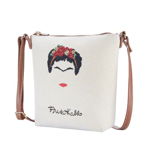 Signare Tapestry Frida Kahlo Panel Design in Beige on Cream Sling Bag (16x22x120cm)