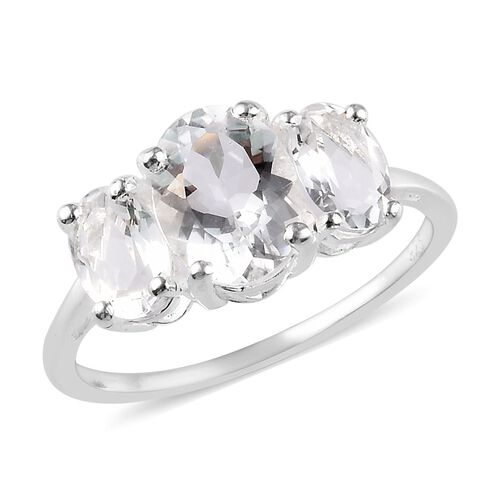 1.75 Ct Petalite Trilogy Ring in Sterling Silver