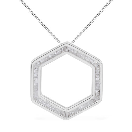 Diamond (Bgt) Pendant with Chain in Platinum Overlay Sterling Silver 0.750 Ct.