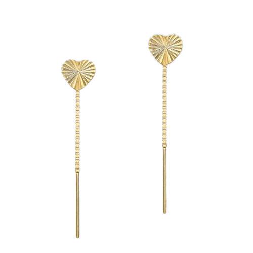 9K Yellow Gold Diamond Cut Heart Pull Through Chain Threader Earrings